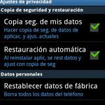 Resetear Android desde Menú Ajustes